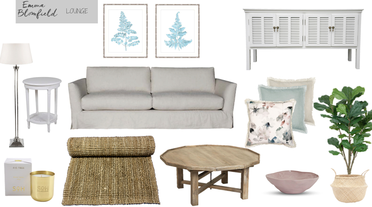Hamptons Living Room Mood Board by Emma Blomfield